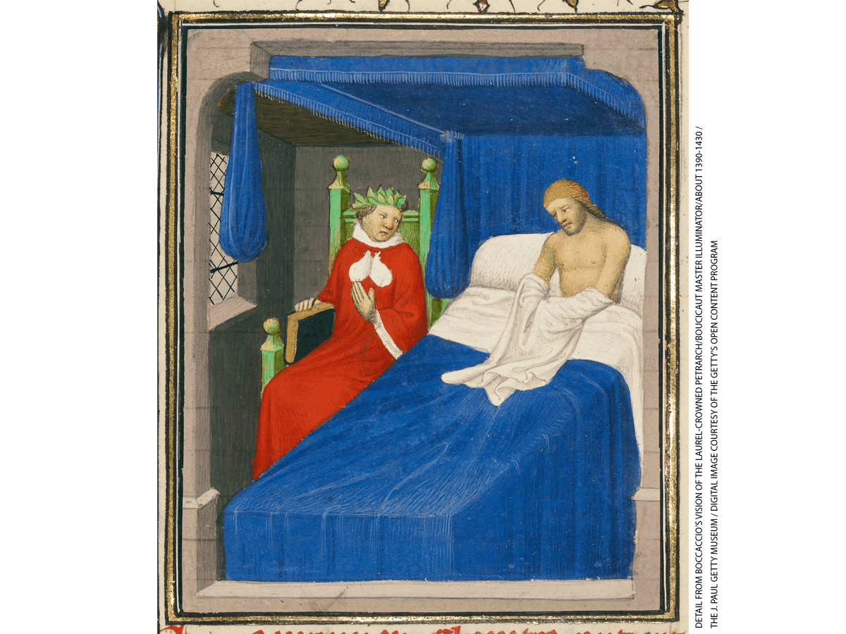 A depiction of Petrarch, with a crown of laurels, appearing to Boccaccio in a vision.