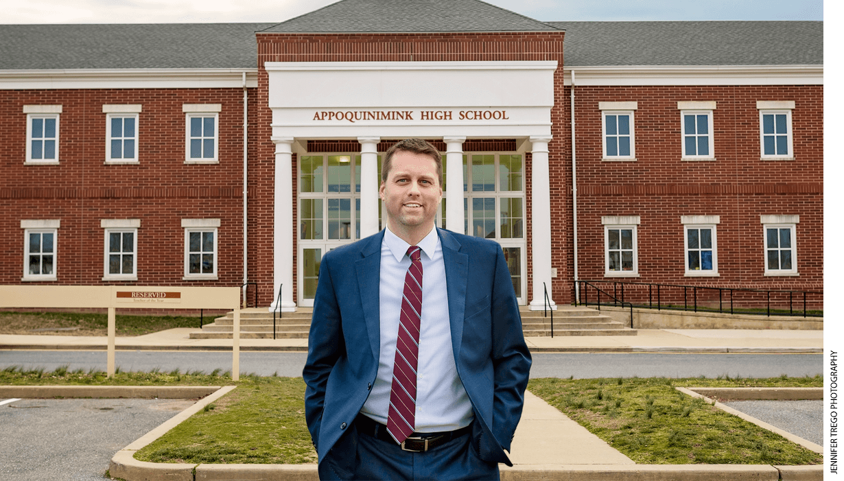 Career and technical education coordinator Mike Trego at Appoquinimink High School in Delaware.