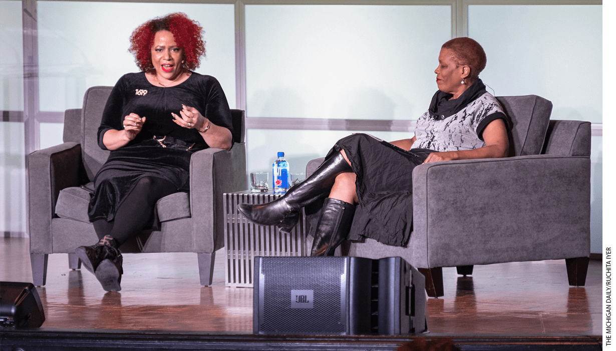 Nikole Hannah-Jones speaks at the University of Michigan in January 2020.