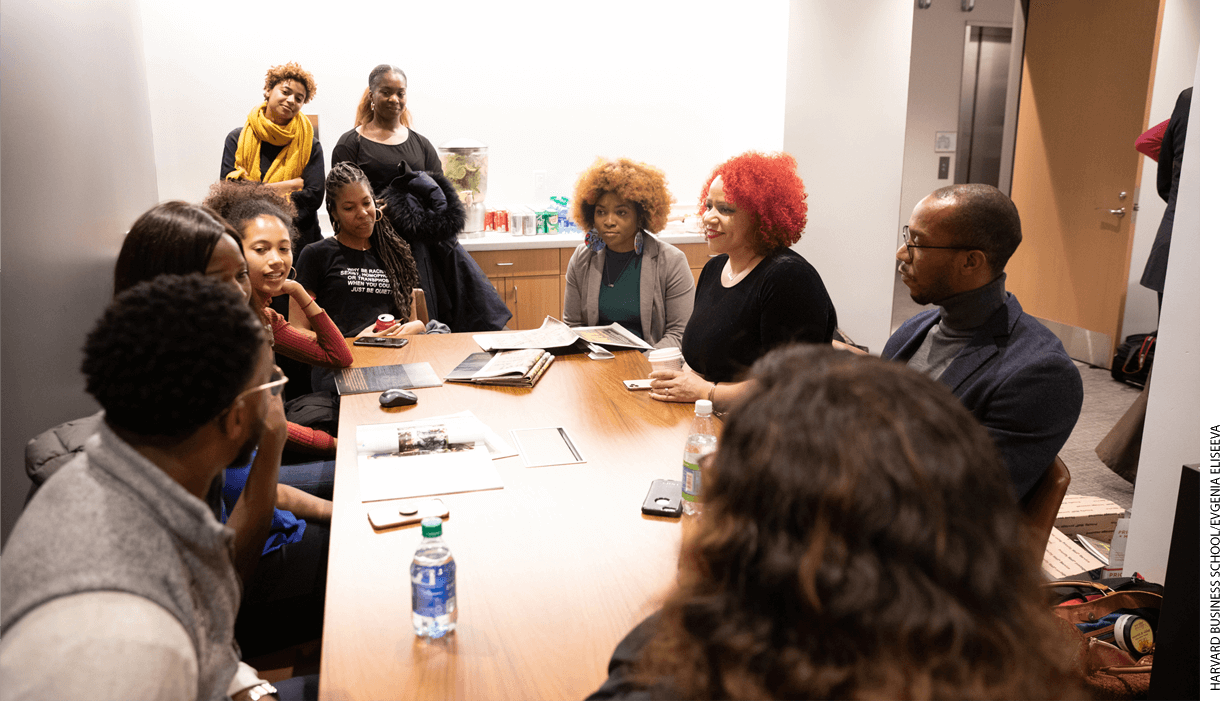 Members of the African American Student Union meeting with Nikole Hannah-Jones before an event at the Harvard Business School.
