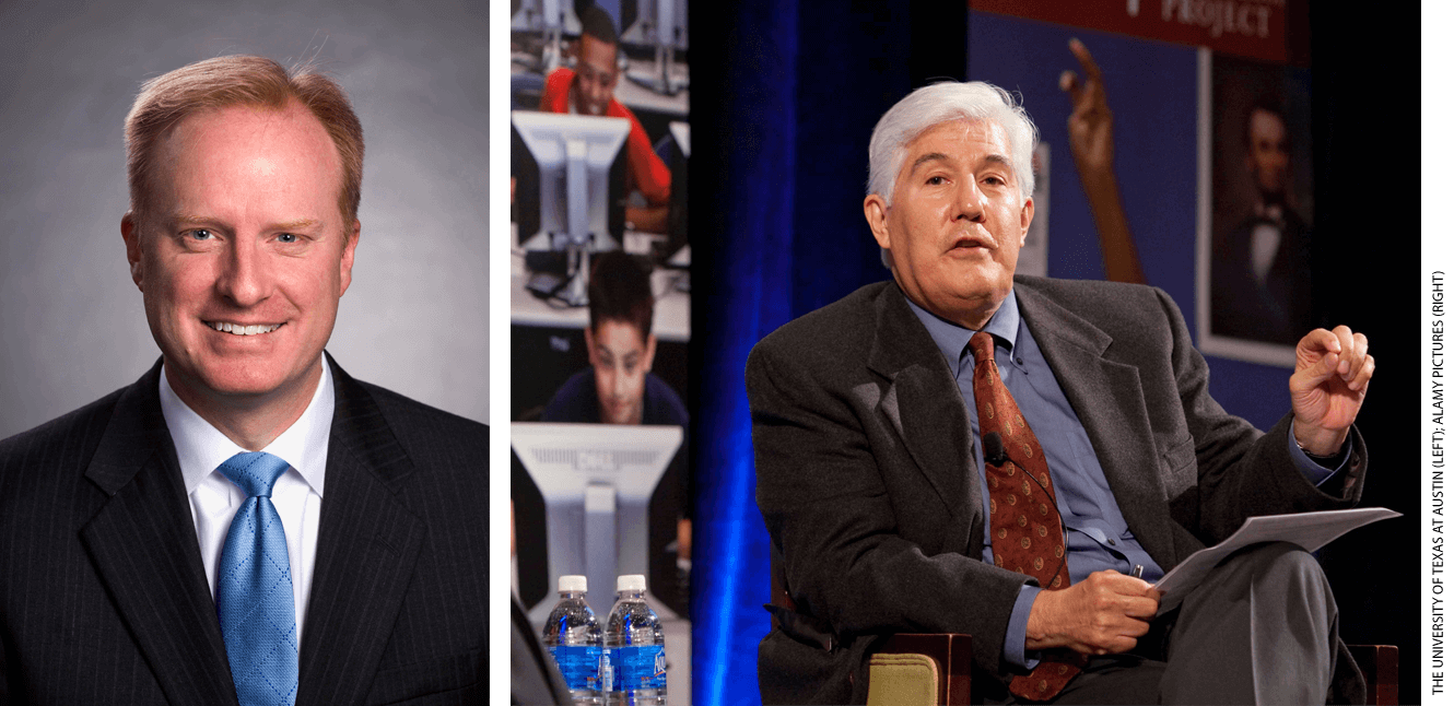 Harrison Keller (left), a former University of Texas administrator, is the commissioner of higher education for Texas. Raymund Paredes (right), was commissioner until Keller took over in 2019.