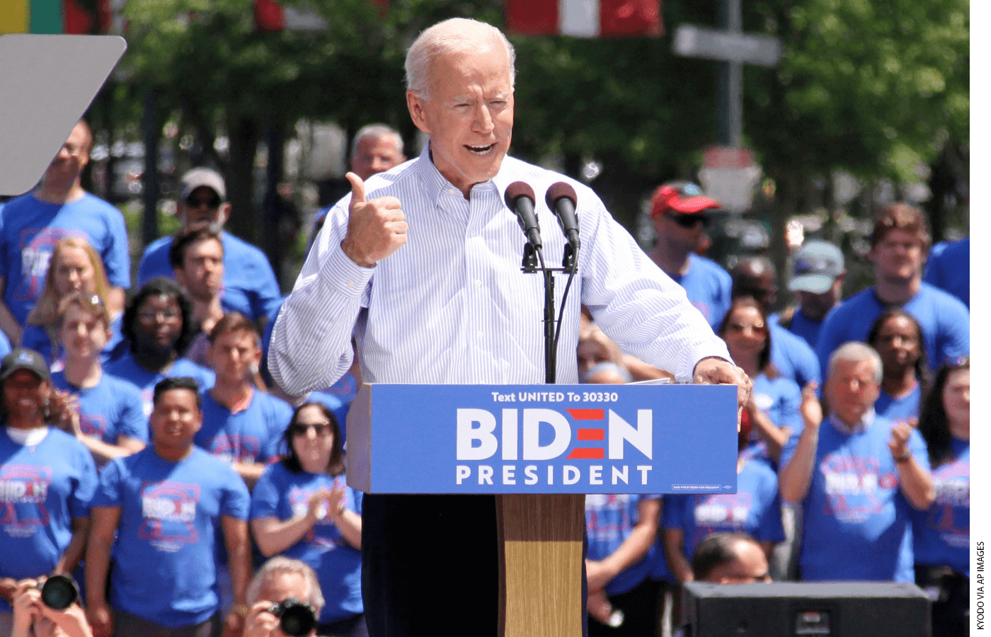 Joe Biden at a podium during a campaign rally.