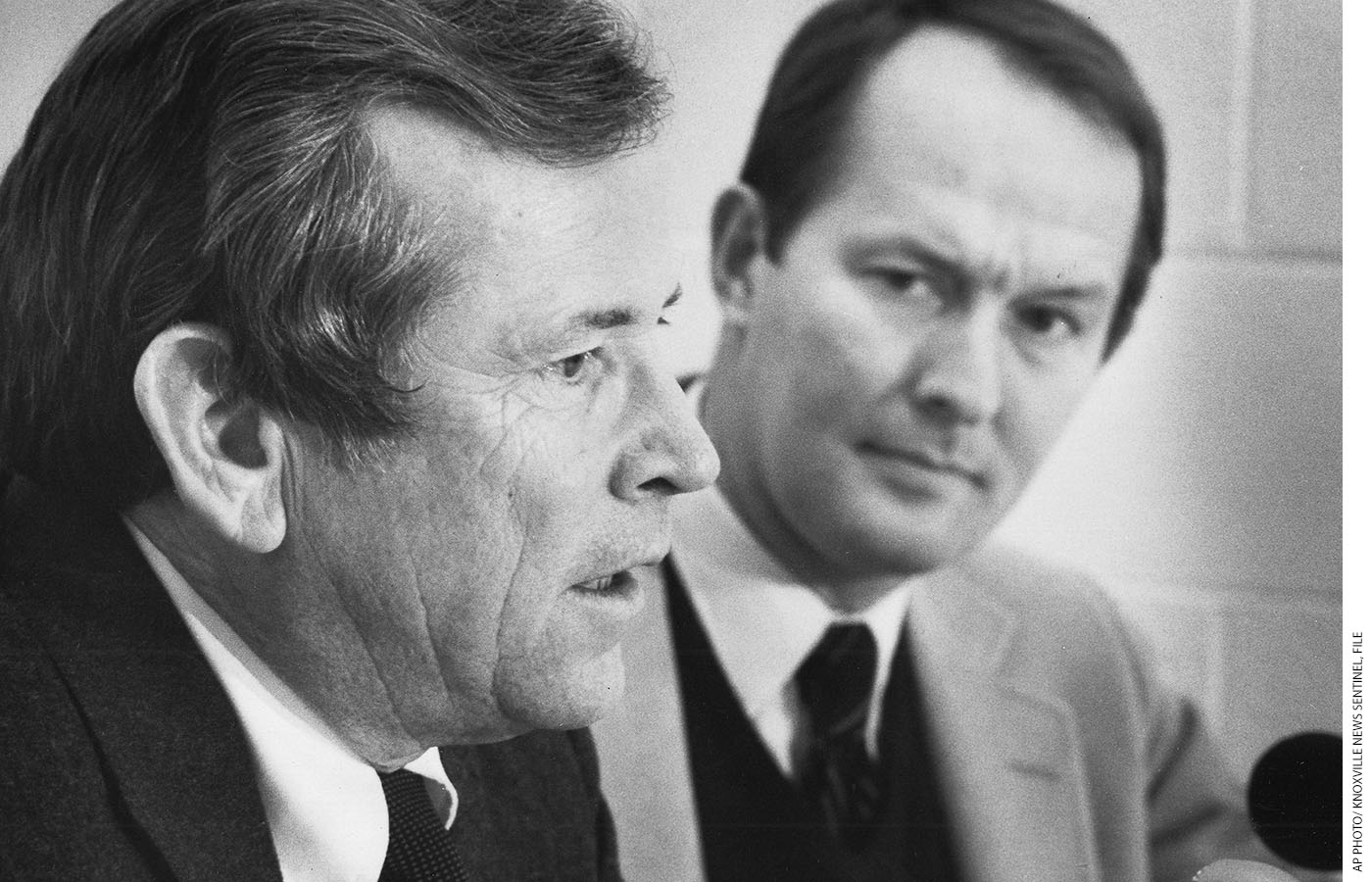 Senator Howard H. Baker, Jr., and then-governor Alexander meet the press at the annual Lincoln Day Dinner in Knoxville, Tennessee, February 11, 1982.