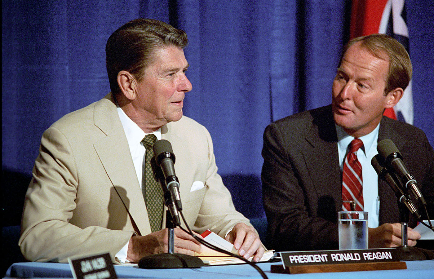 While governor of Tennessee, Alexander appears with President Ronald Reagan at Farragut High School in Knoxville to discuss the report released by the National Commission on Excellence in Education, June 14, 1983.