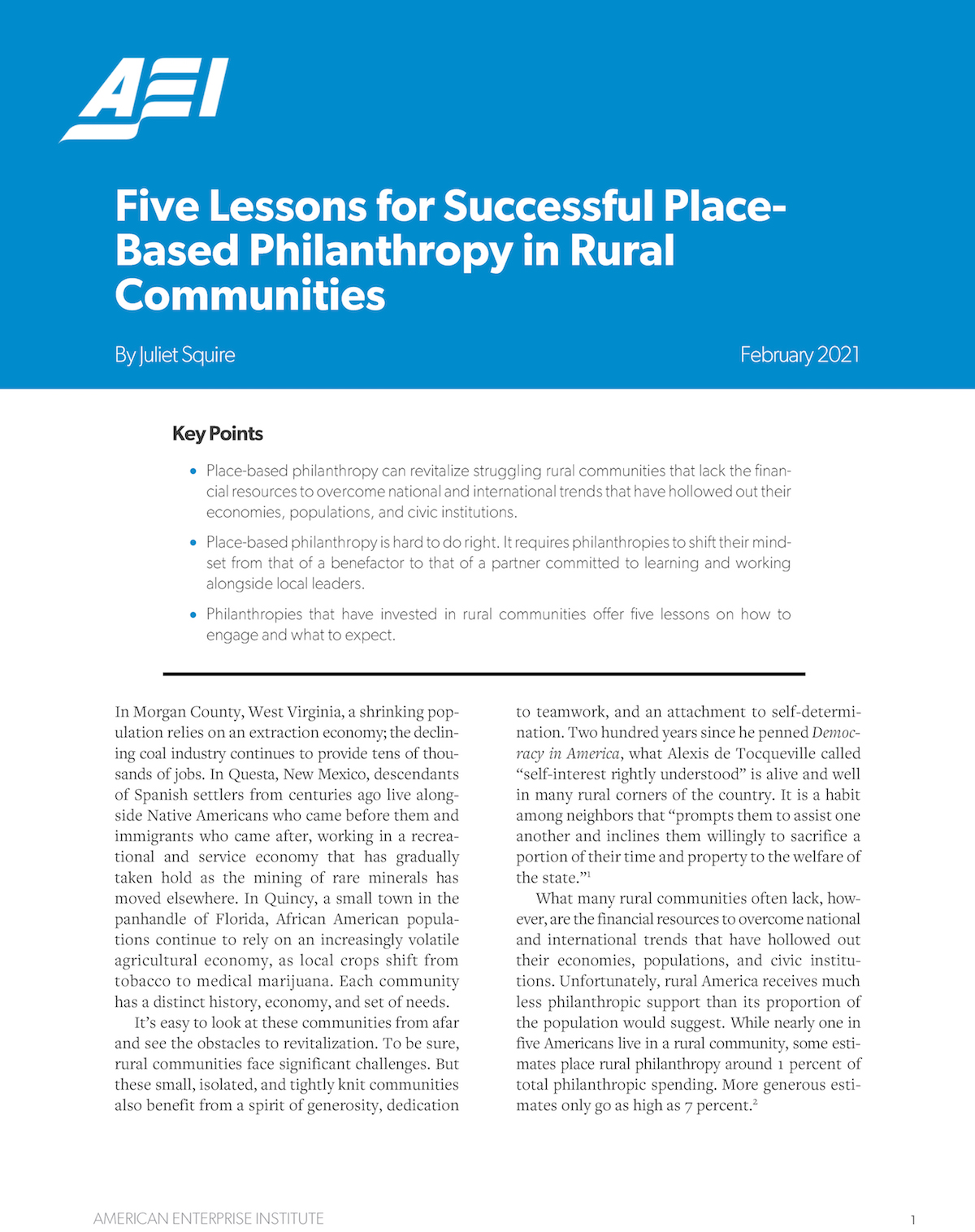 """Report cover of """"Five Lessons for Successful Place-Based Philanthropy in Rural Communities"""""""