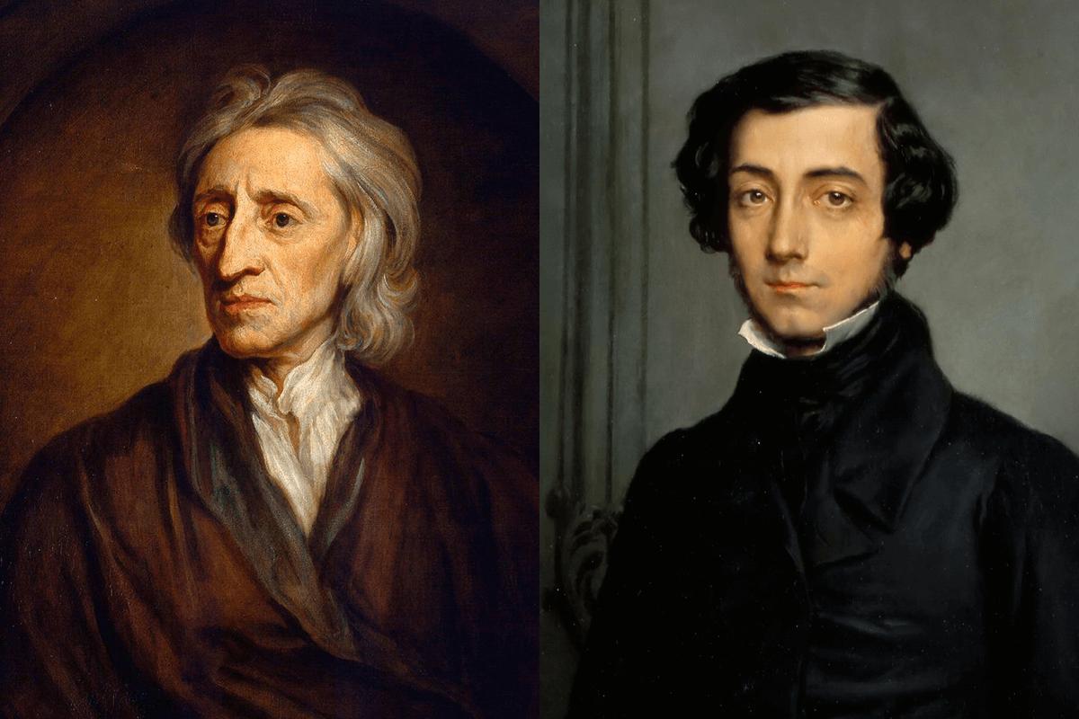 Photos of John Locke (left), Alexis de Tocqueville